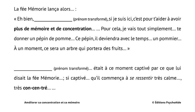 Script hypnotique - Améliorer sa concentration et sa mémoire (pour les 5-10 ans) (allégorie thérapeutique)