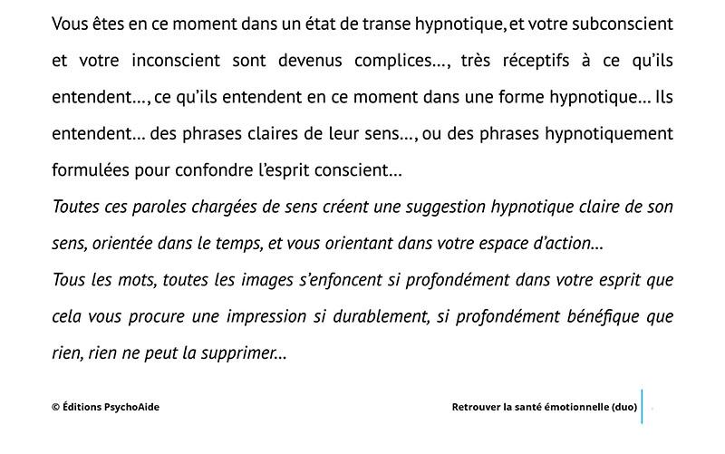 Script hypnotique - Retrouver la santé émotionnelle- dépression (duo)