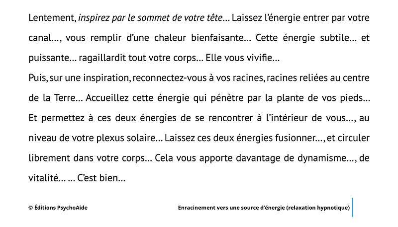 Script hypnotique - Enracinement vers une source d'énergie (relaxation hypnotique)