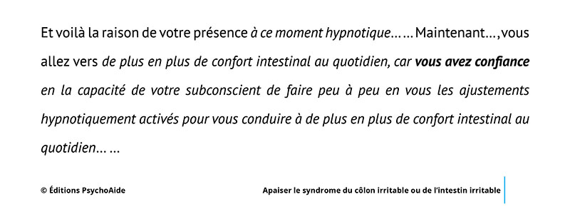 Script hypnotique - Apaiser le syndrome du côlon irritable ou de l'intestin irritable