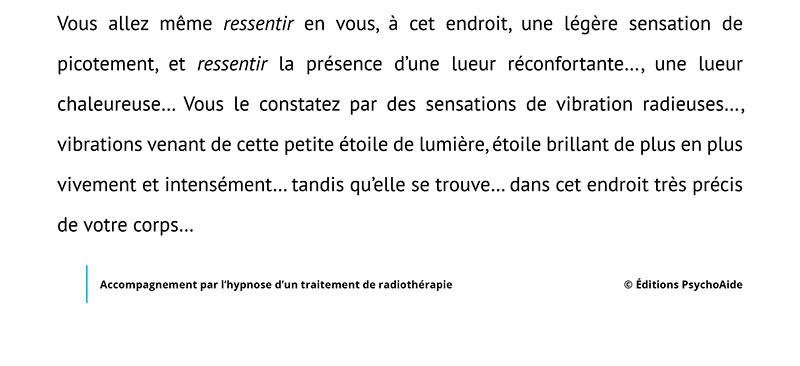 Script hypnotique - Accompagnement par l'hypnose d'un traitement de radiothérapie (visualisation thérapeutique)