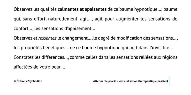 Script hypnotique - Atténuer le psoriasis (visualisation thérapeutique)