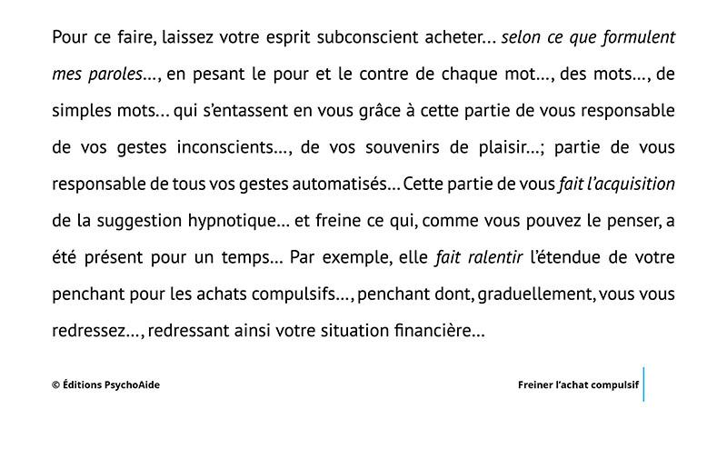 Script hypnotique - Freiner l'achat compulsif