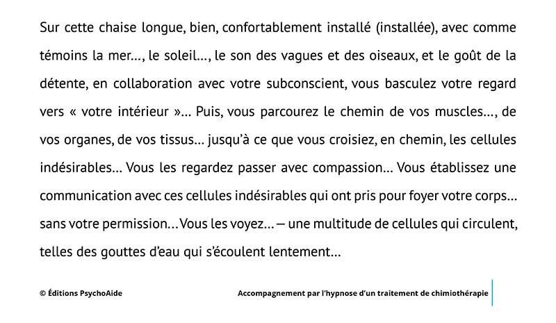 Script hypnotique - Accompagnement par l'hypnose d'un traitement de chimiothérapie (visualisation thérapeutique)