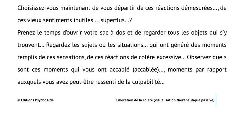 Script hypnotique - Libération de la colère (visualisation thérapeutique)