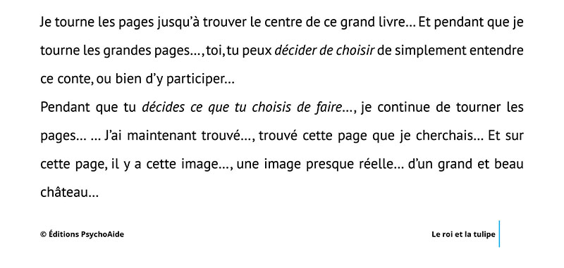 Script hypnotique - Le roi et la tulipe (conte thérapeutique sur l'acceptation de soi pour les 5-11 ans)