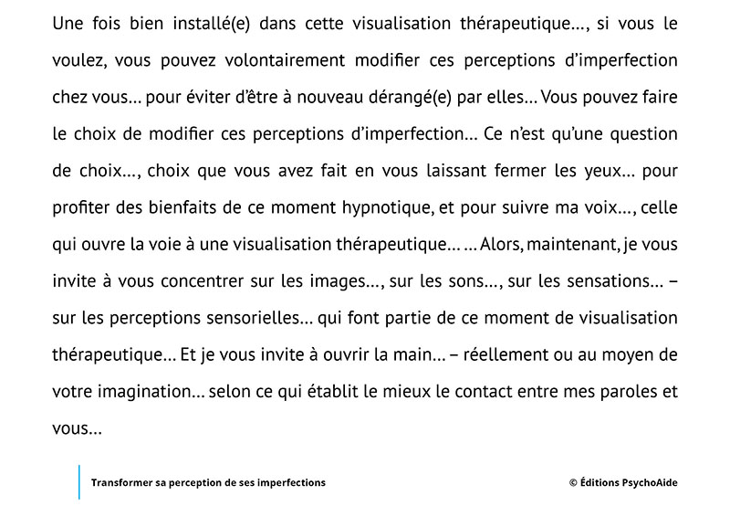 Script hypnotique - Transformer sa perception de ses imperfections (visualisation thérapeutique)