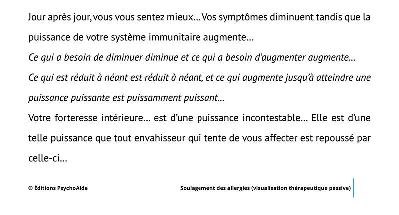 Extrait du script hypnotique - Soulagement des allergies (visualisation thérapeutique)