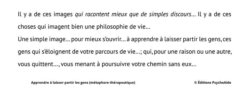Extrait du script hypnotique - Apprendre à laisser partir les gens (métaphore thérapeutique)