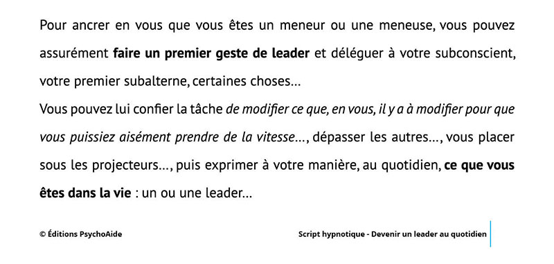Script hypnotique - Devenir un leader au quotidien