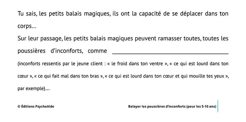 Extrait du script hypnotique - Balayer les poussières d'inconforts (pour les 5-10 ans) (visualisation thérapeutique)