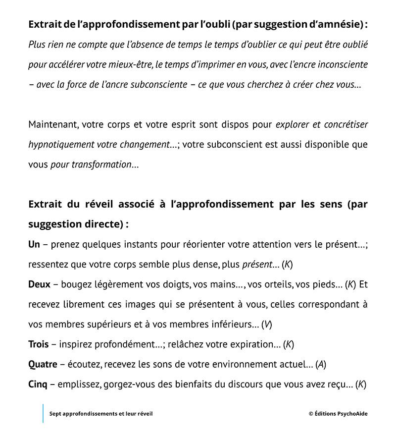 PDF d'hypnose – Sept approfondissements et leur réveil