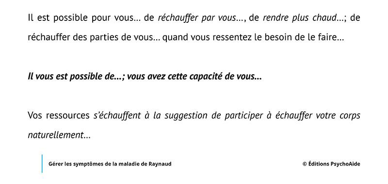 Script hypnotique - Gérer les symptômes de la maladie de Raynaud (visualisation thérapeutique)