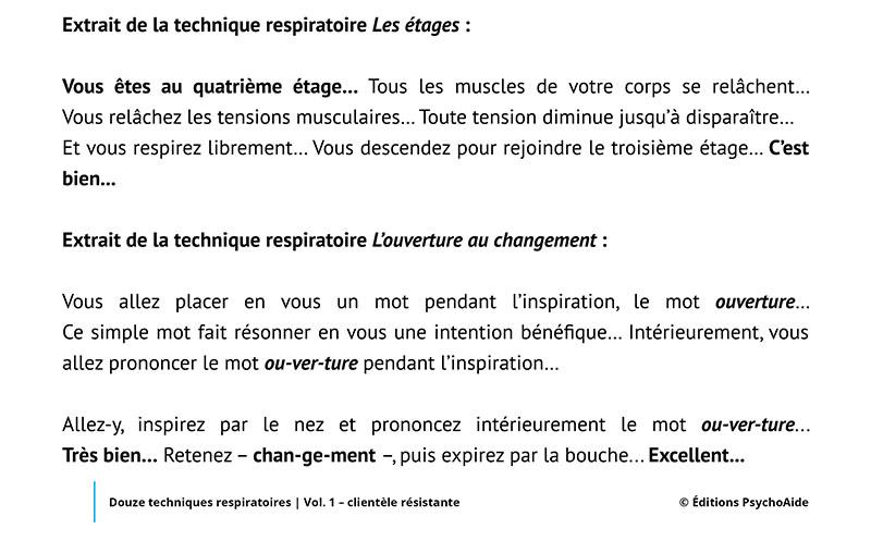 Outil - Douze techniques respiratoires - Vol. 1 - clientèle résistante
