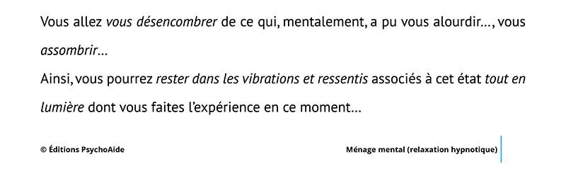 Script hypnotique - Ménage mental (relaxation hypnotique)