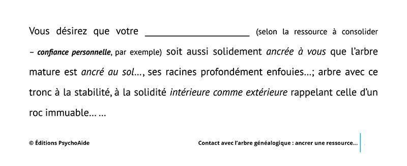 Script hypnotique - Contact avec l'arbre généalogique : ancrer une ressource intérieure (visualisation thérapeutique)