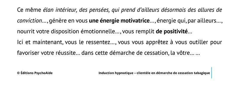 Script hypnotique - Induction hypnotique pour clientèle en démarche de cessation tabagique (avec approfondissement et réveil)
