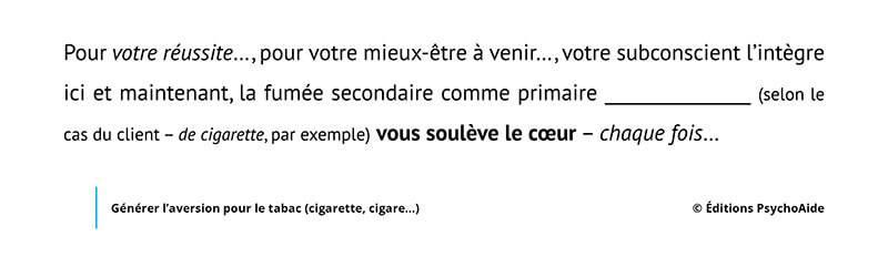 Extrait du script hypnotique - Générer l'aversion pour le tabac (cigarette, cigare…)