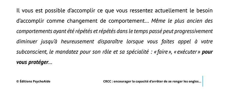 Script hypnotique - Comportement répétitif centré sur le corps (CRCC)