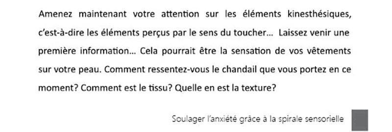 Extrait du texte hypnotique - Soulager l'anxiété grâce à la spirale sensorielle